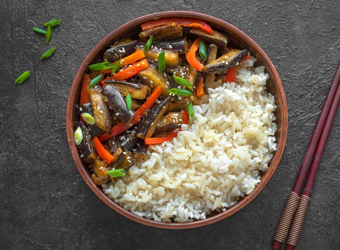 Stir Fried Eggplant and Bell Pepper, Szechuan inspired