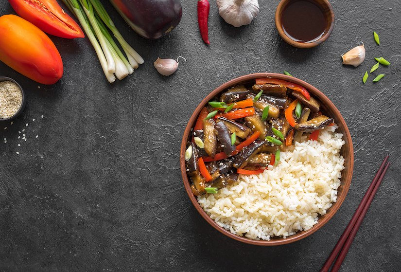 Szechuan-Style Stir Fried Eggplant and Bell Peppers