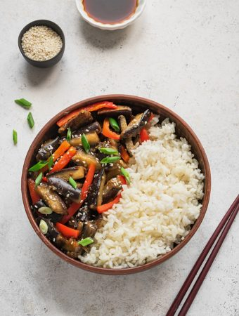 Stir Fried Eggplant and Bell Peppers