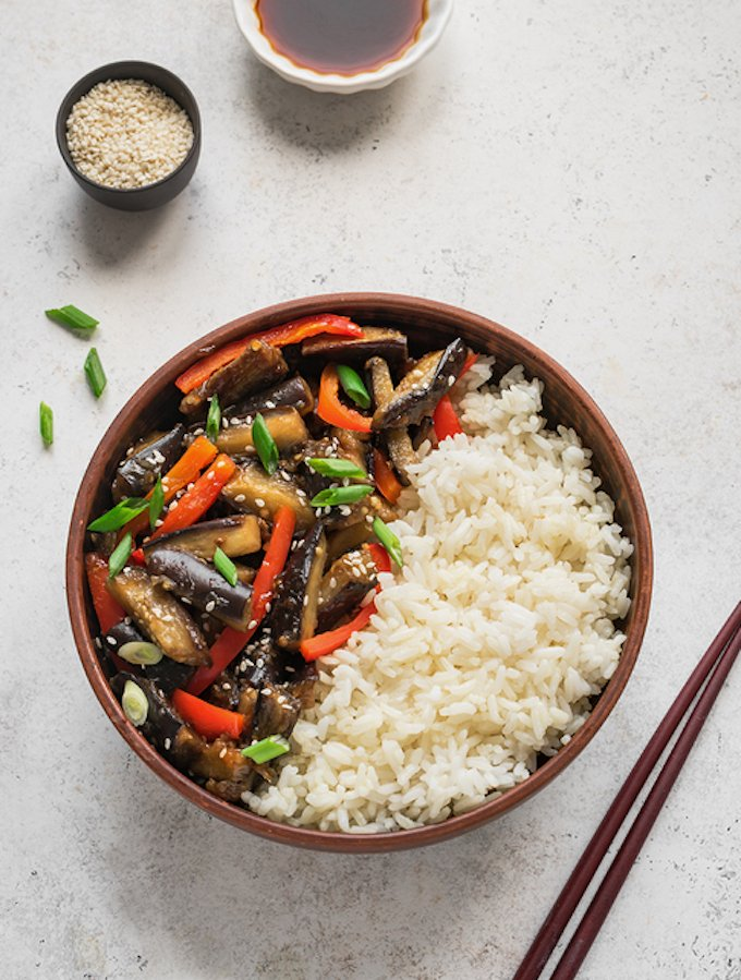 Spicy Stir Fried Eggplant and Bell Peppers