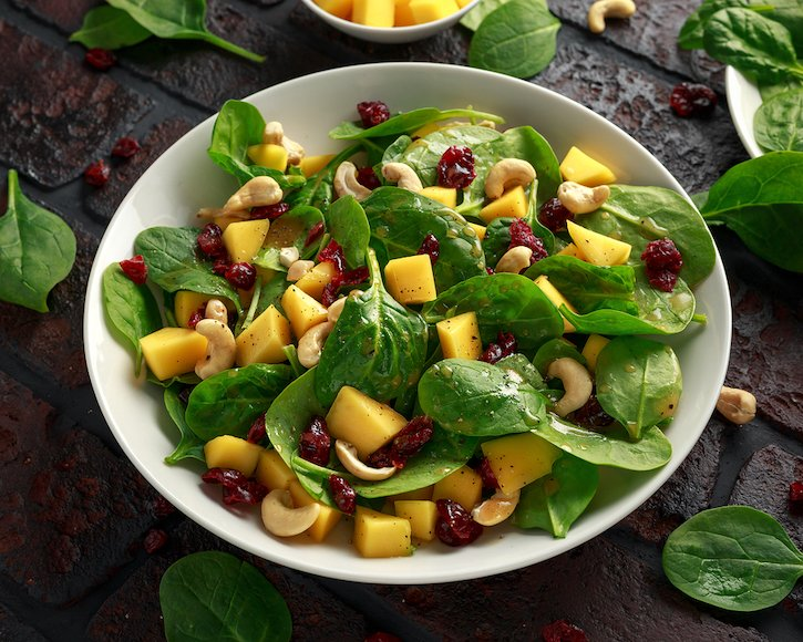 Mango and Spinach Salad with Cranberries and Cashews