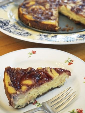 Vegan Lemon Cheesecake with Raspberry Swirl
