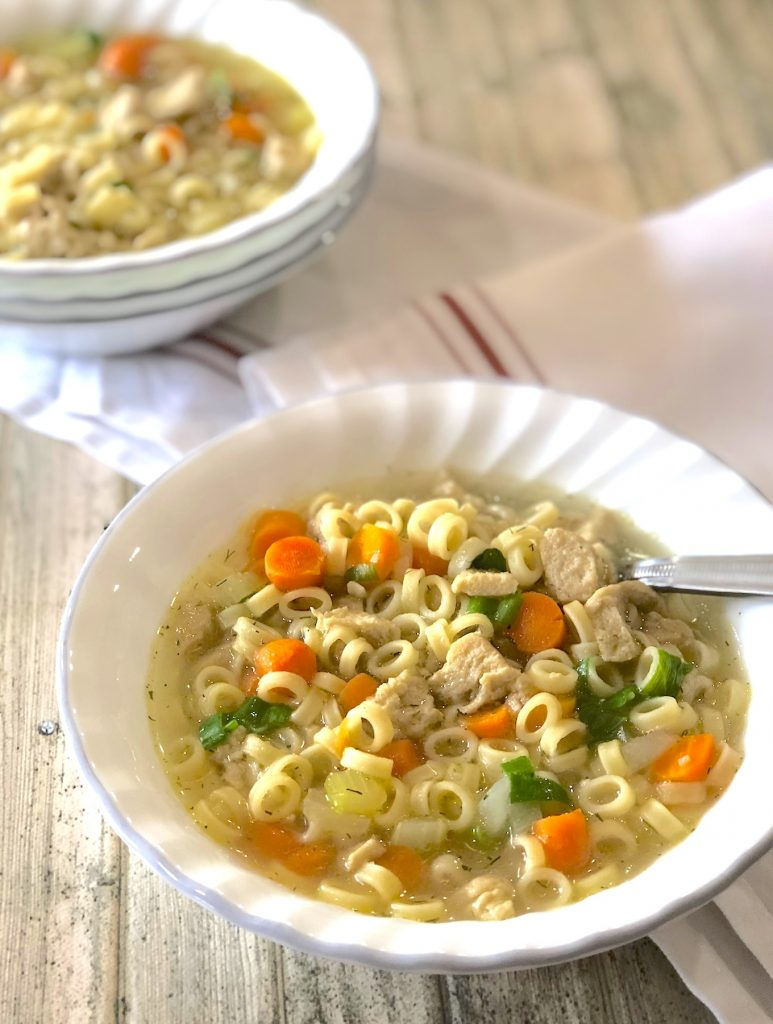 Vegan chick'n noodle soup recipe