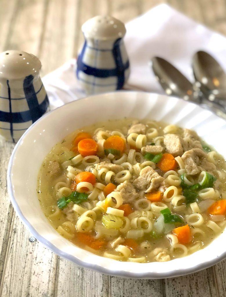 Vegan chicken noodle soup3