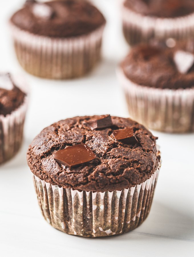 Chocolate Chunk Vegan Muffins made with whole wheat pastry flour