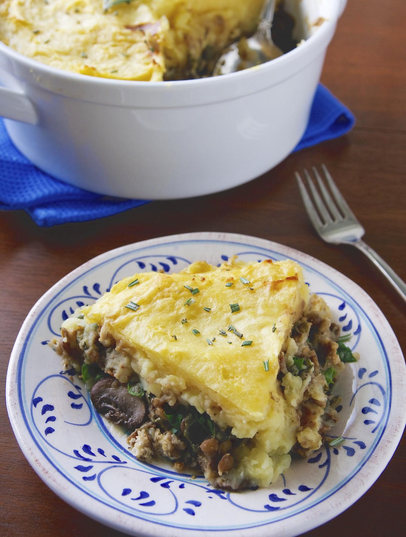 Vegan lentil and mushroom shepherd's pie1