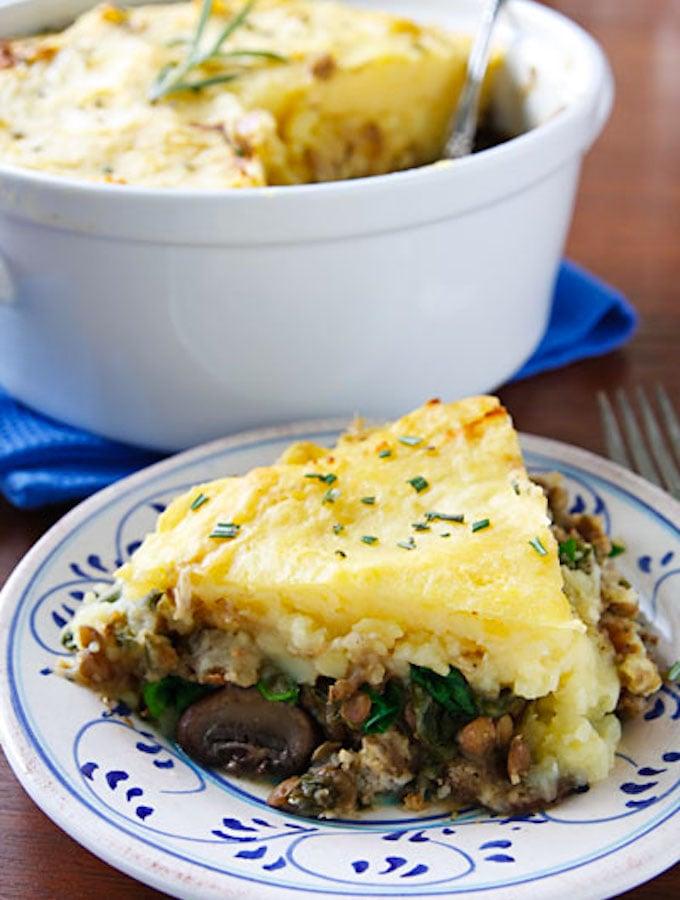 Vegan mushroom and lentil shepherds-pie