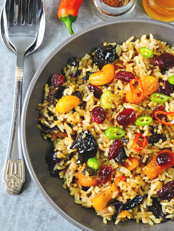 Basmati rice pilaf with dried fruits and nuts