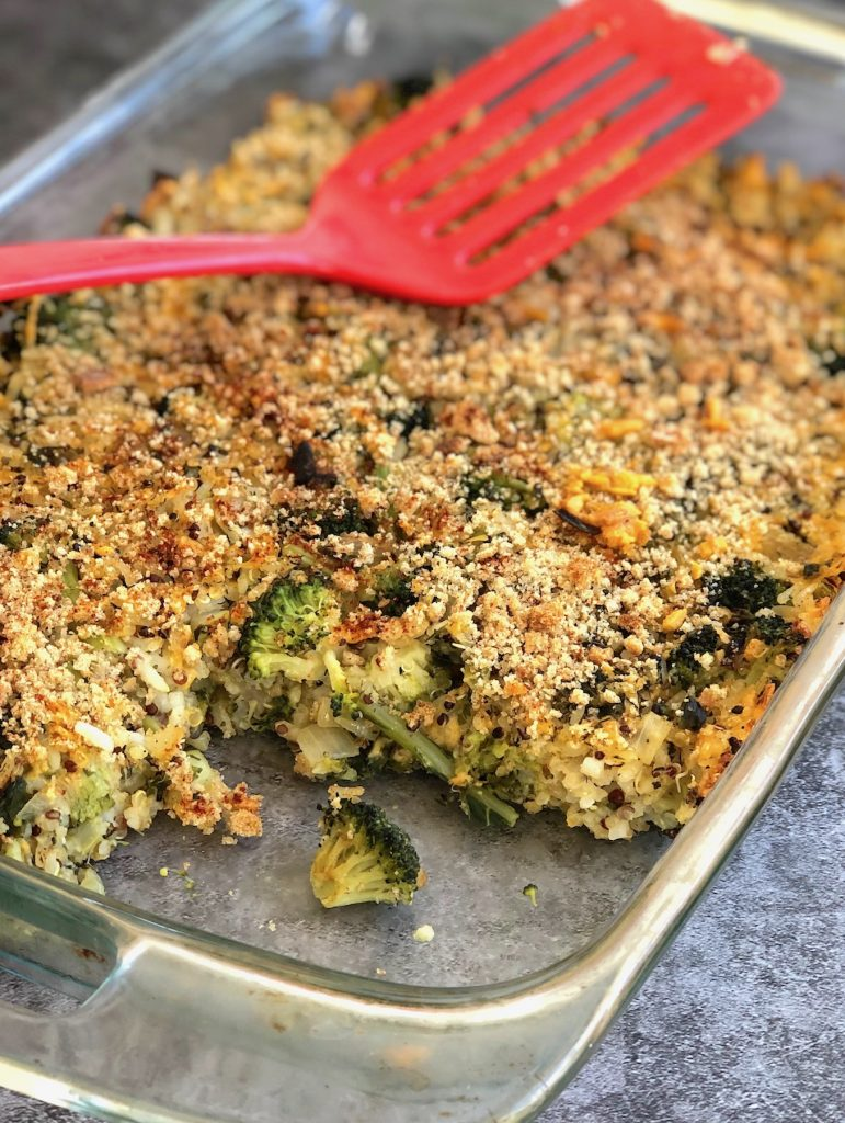 Cheesy vegan Broccoli Rice Casserole