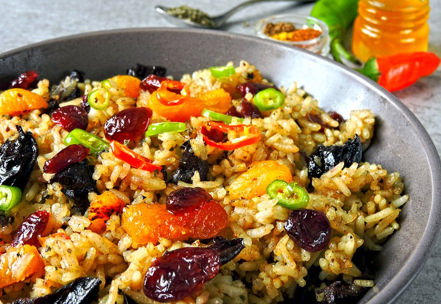 Brown Basmati rice pilaf with dried fruits and nuts