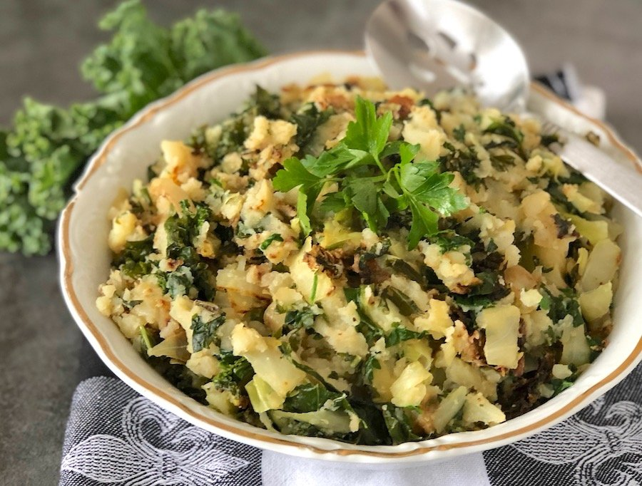 Vegan Colcannon recipe with cabbage and kale