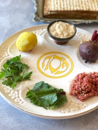 Vegan Seder plate for passover