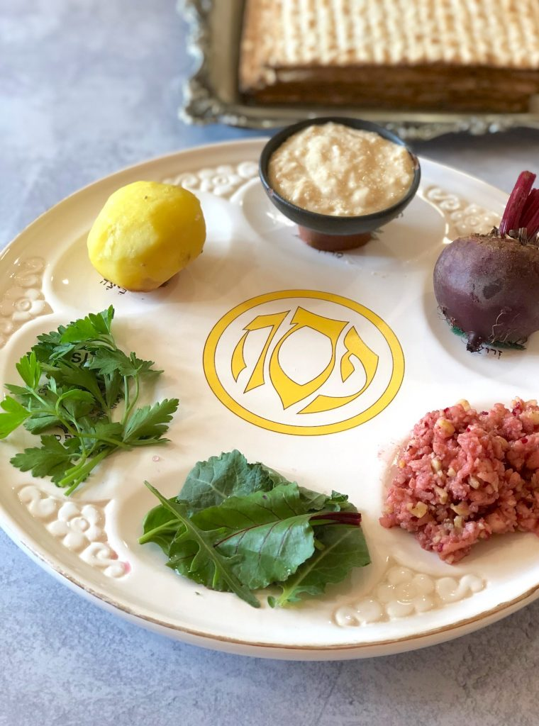 Vegan Seder plate for passover