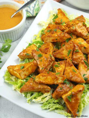 Peanut satay golden tofu triangles