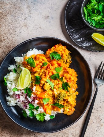 Red Lentil Dal Rice Bowl