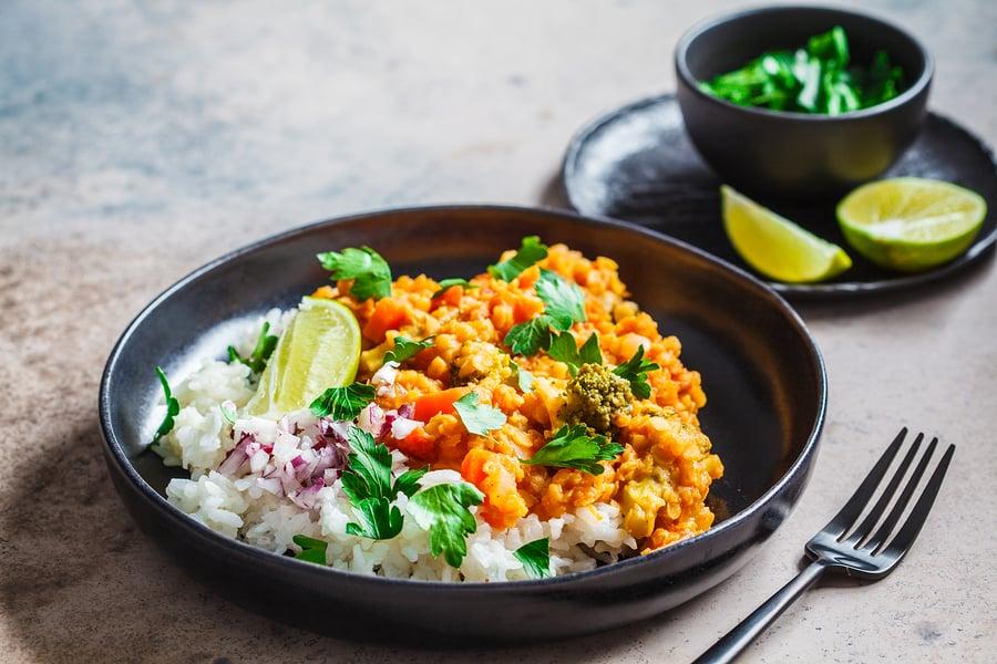 Red lentil dal on rice