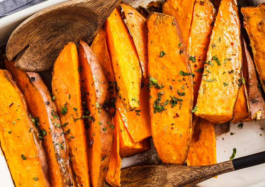 Tarragon and Maple Roasted Sweet Potatoes