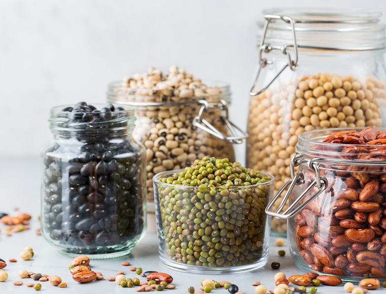 Assortment of beans and legumes in jars