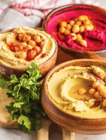 Homemade Hummus varieties