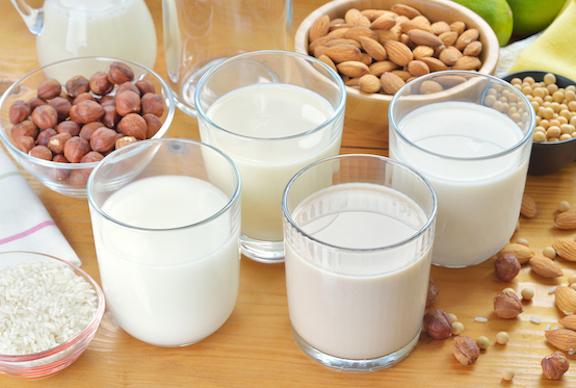 Varieties of Vegan Milks - dairy-free, plant based