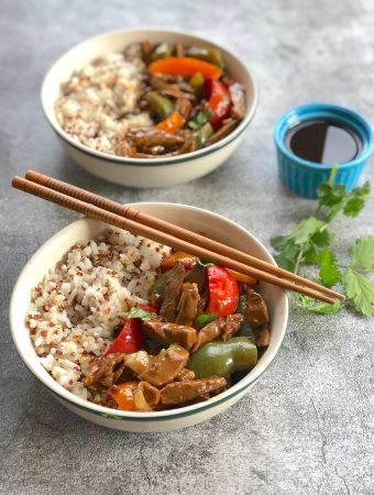 Vegan pepper steak made with seitan or plant protein