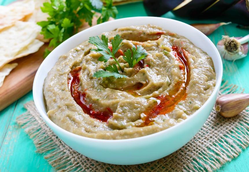 Baba ghanouj (baba ghanoush) - Middle Eastern roasted eggplant dip