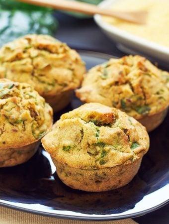 Cheesy vegan corn muffins with fresh herbs