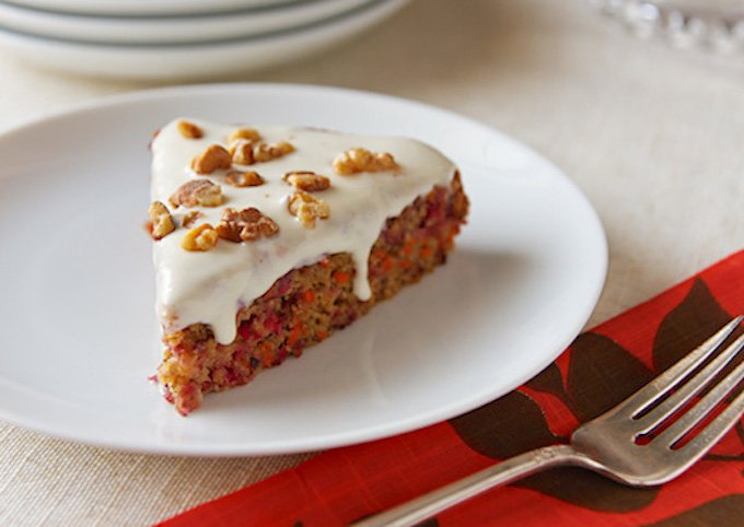 Vegan Cranberry-Carrot Cake with maple cream cheese frosting