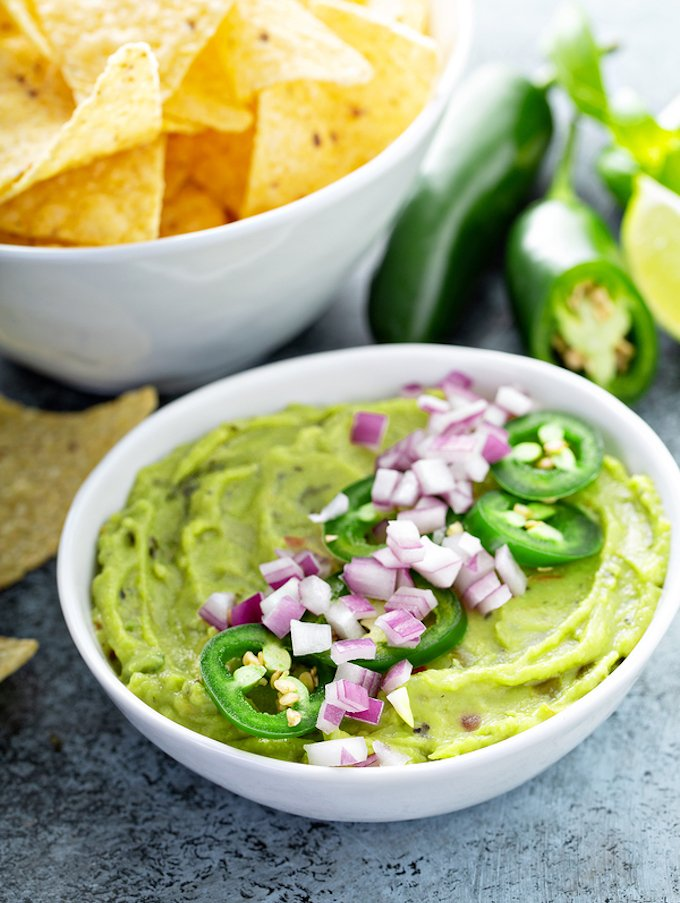 Creamy Guacamole With Red Onion