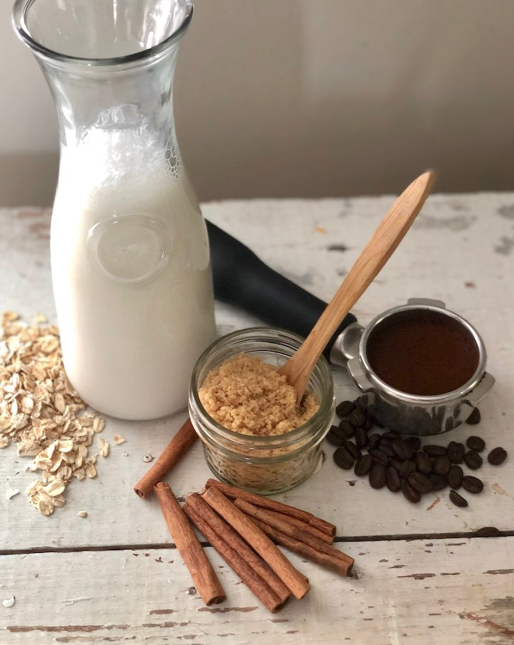 Ingredients for vegan oat milk latte