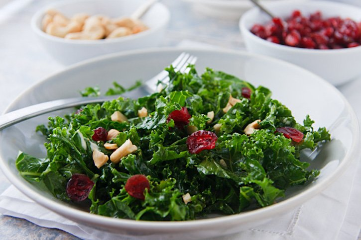 Kale Salad with Cashews and Cranberries
