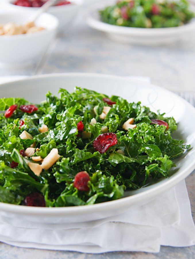 Kale Salad with Cranberries and Cashews