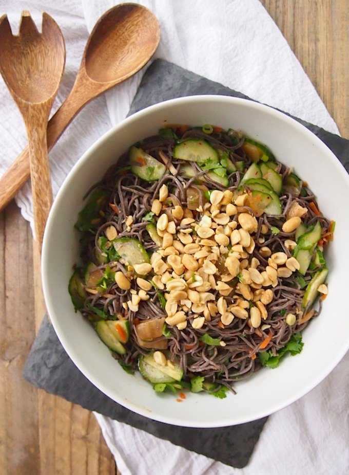 Kimchi Noodle Salad with Cucumber and Peanuts