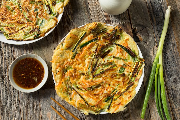 Homemade Korean Scallion and Kimchi Pancakes