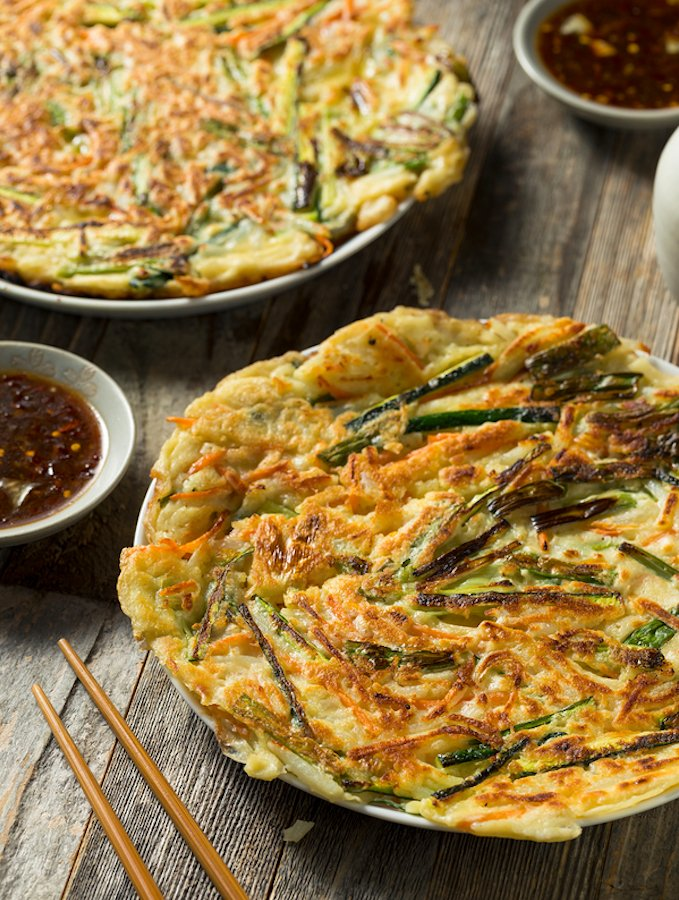Korean-Style Scallion and Kimchi Pancakes