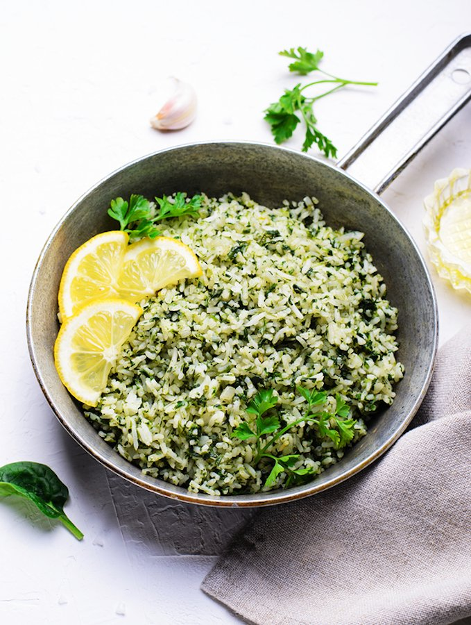 Lemony Spinach Rice with Fresh Herbs