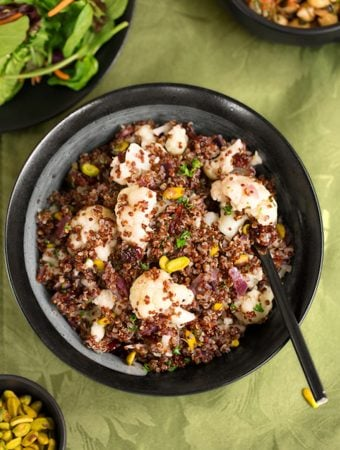 Quinoa Cauliflower pilaf with dried fruits and nuts