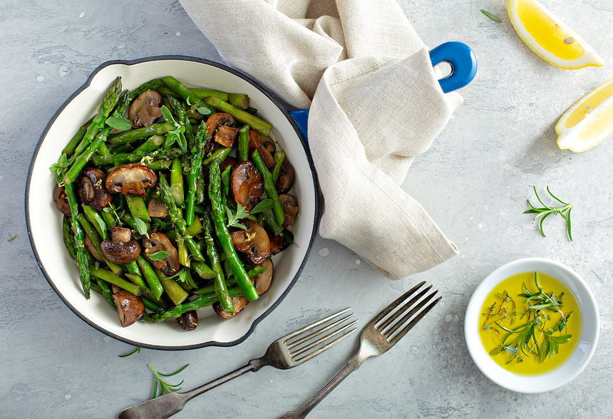 Lemony Asparagus with Mushrooms (roasted or sauteed)