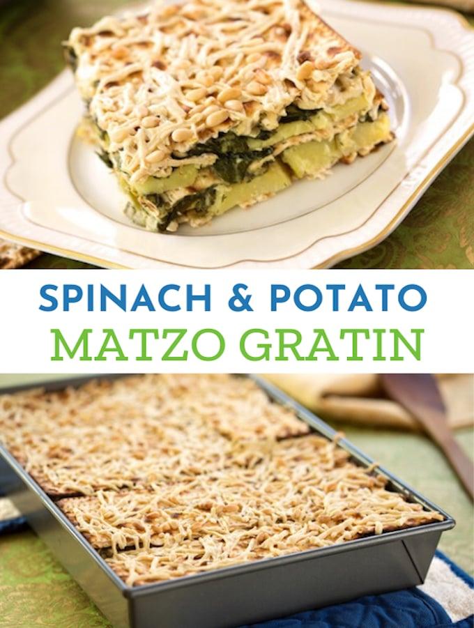 Spinach & Potato Matzo Gratin for Passover