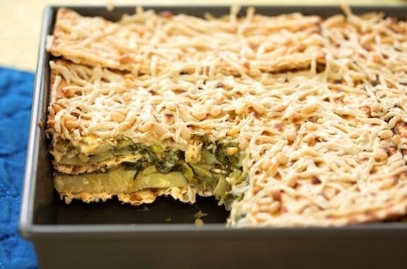 Spinach matzo gratin (matzo mina)