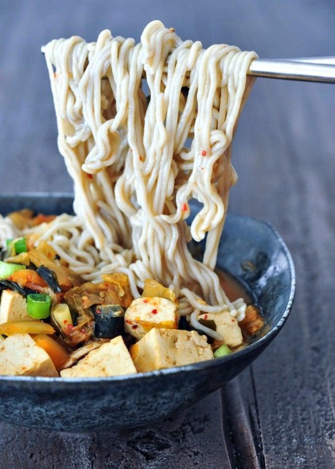 Super Flavorful Vegan Instant Kimchi Noodle Soup
