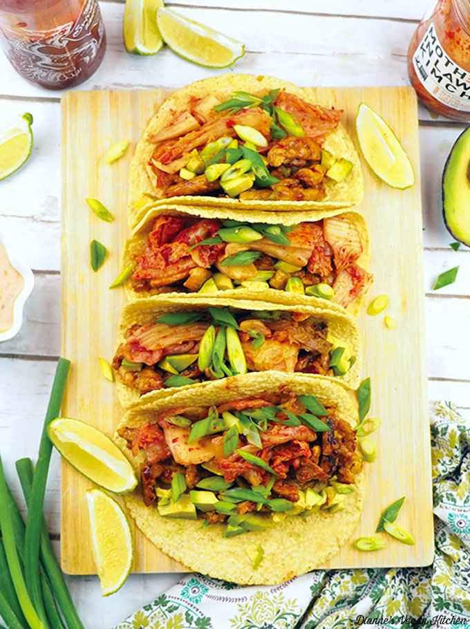 Vegan soy curl and kimchi tacos