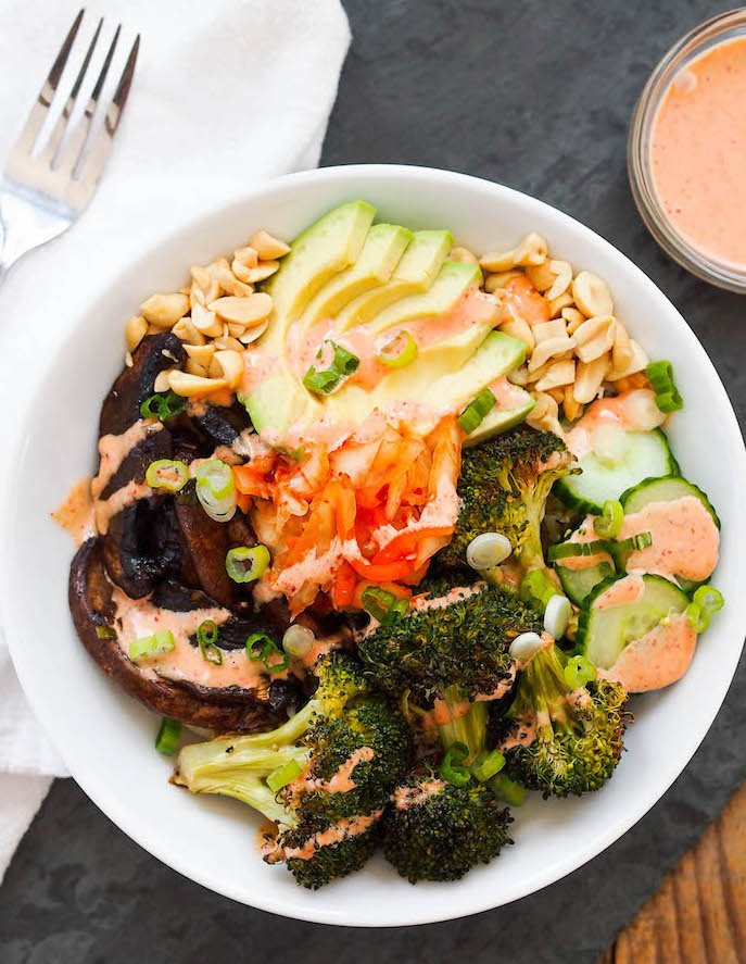 vegan portobello bulgogi bowl with kimchi