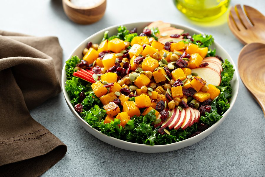 Fall or Winter Kale and Butternut Squash Salad with Apples and Cranberries