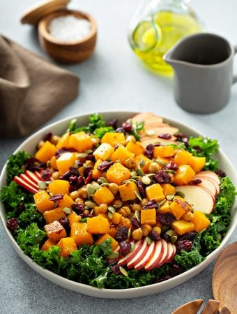 Kale and Butternut Squash Salad with Apples and Cranberries