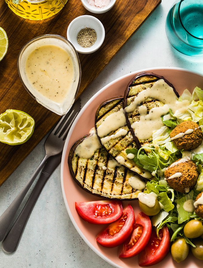 Baked falafel with tahini dressing