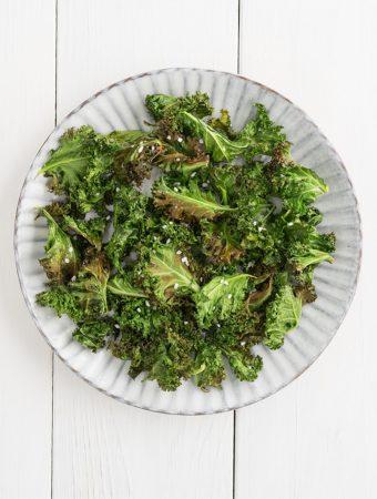 Bake Kale chips with sea salt