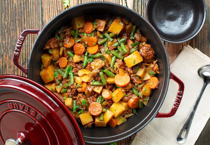 Vegan Beefy seitan and vegetable stew