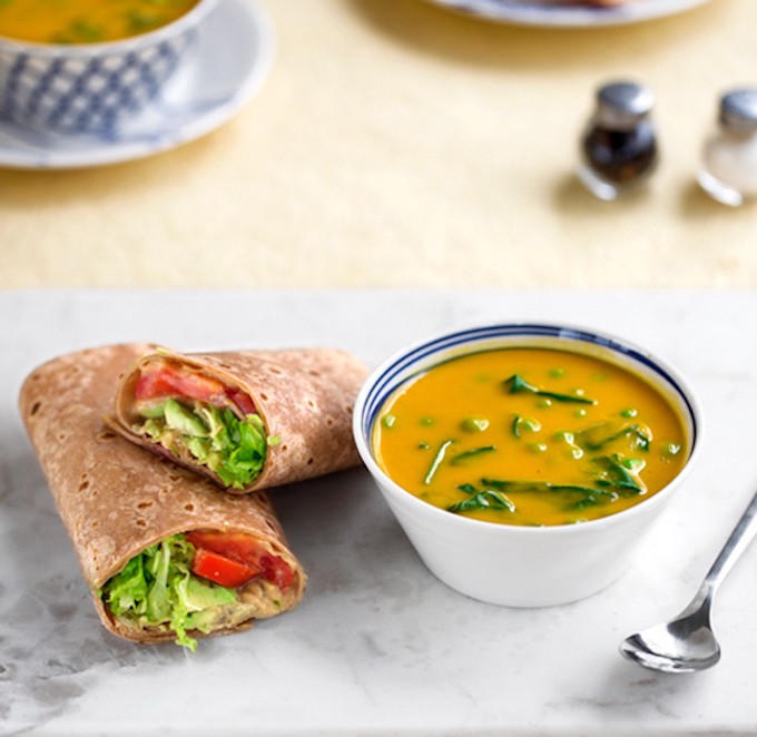 Nearly-Instant Butternut soup & hummus wrap