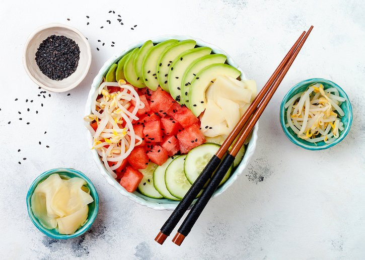 Hawaiian Vegan Poke bowl with ginger, cucumber, avocado